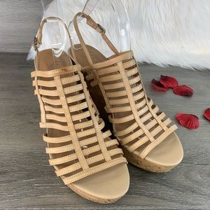 Franco Sarto Sombre Strappy Cork Wedge Sandals